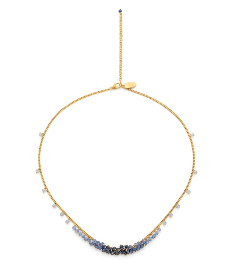 Photo of a sapphire beaded necklace on gold vermeil chain.