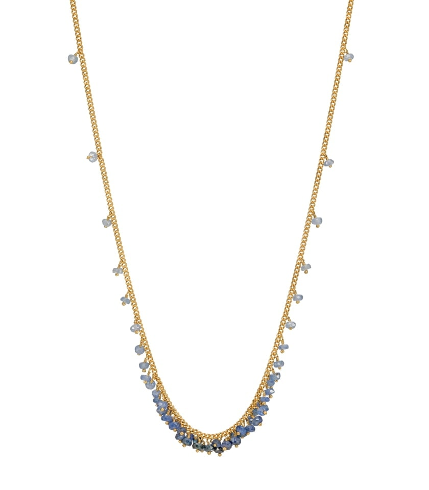 Photo of a sapphire and gold vermeil beaded necklace