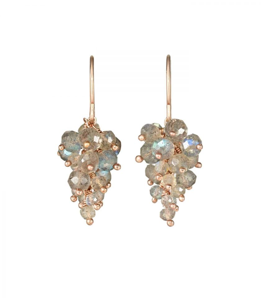 Labradorite and rose gold earrings in shape of grapes.
