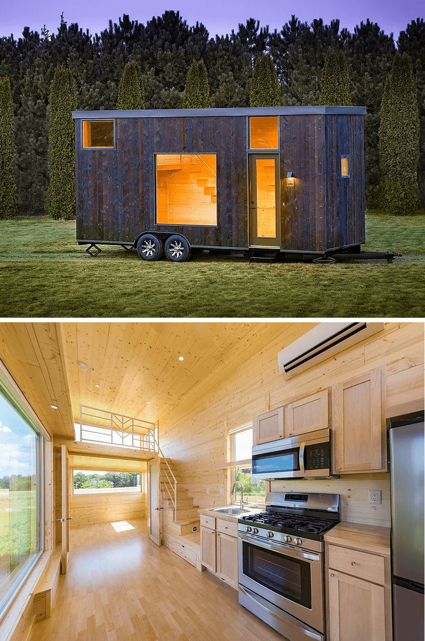 Two story tiny house on wheels design Japanese Shou Sugi Ban Escape One XL