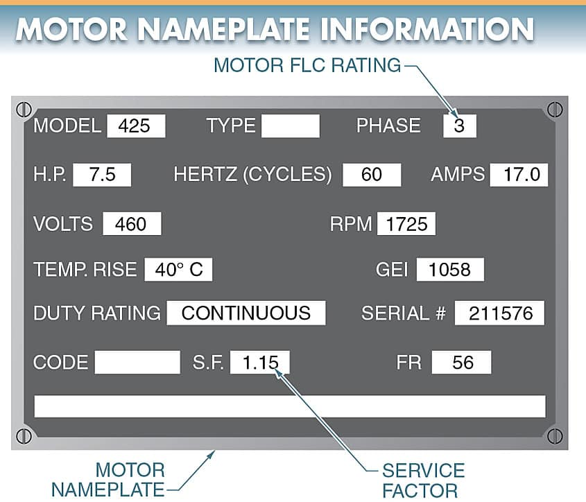 Electric Motor nameplate information