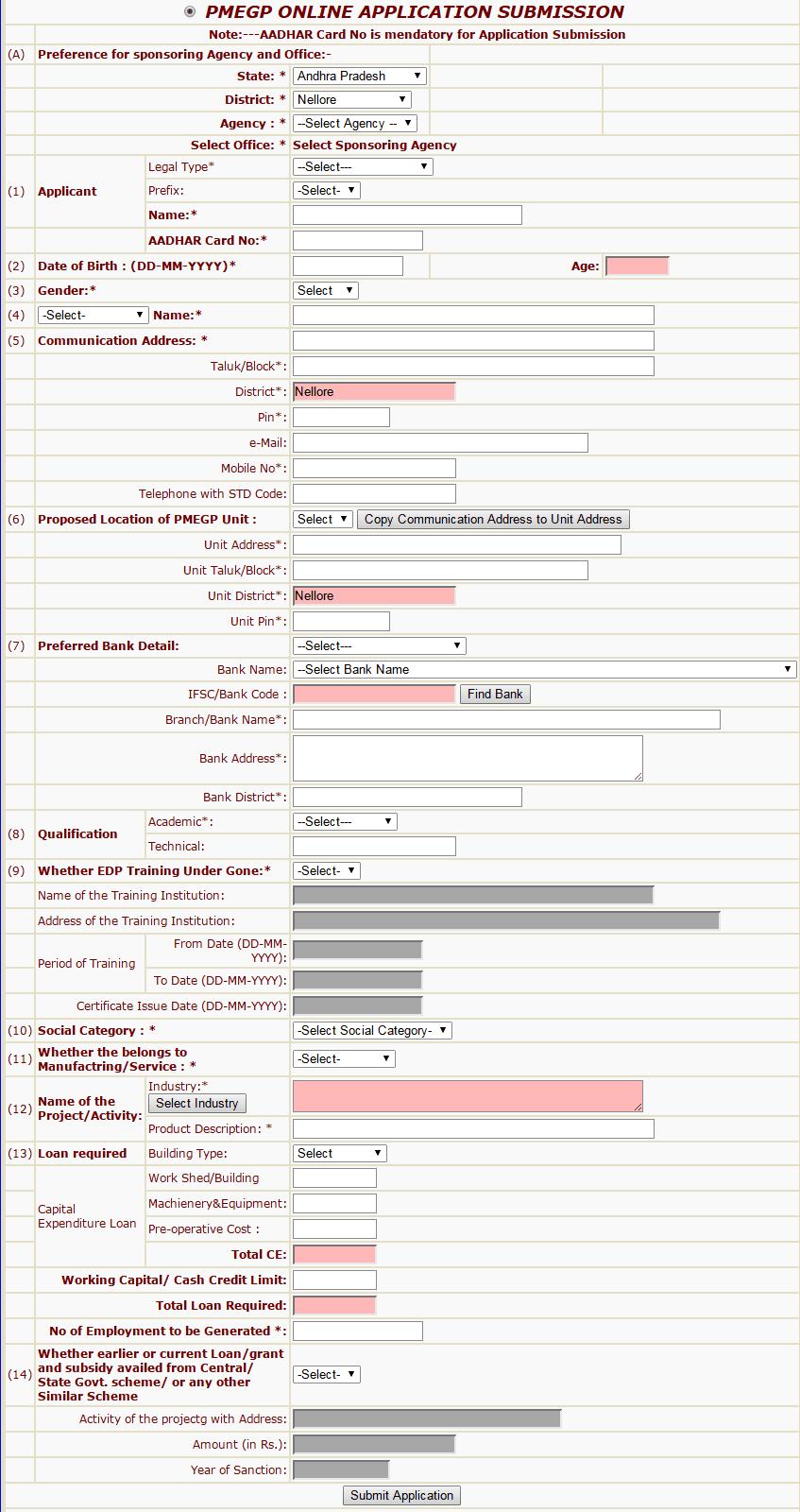 PMEGP Online Application