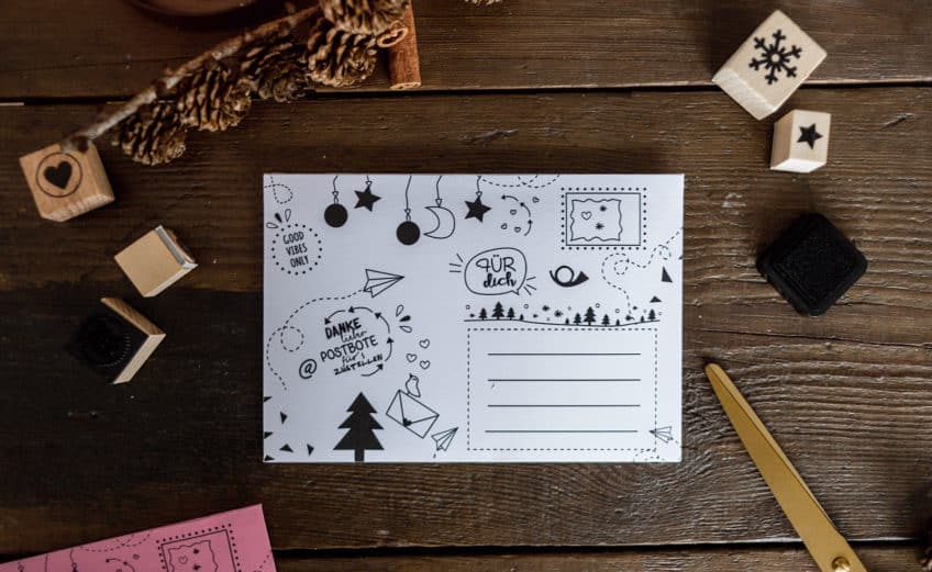 Free Printabels: Druckvorlage für die Weihnachtspost - DIY Briefumschläge mt Freebie