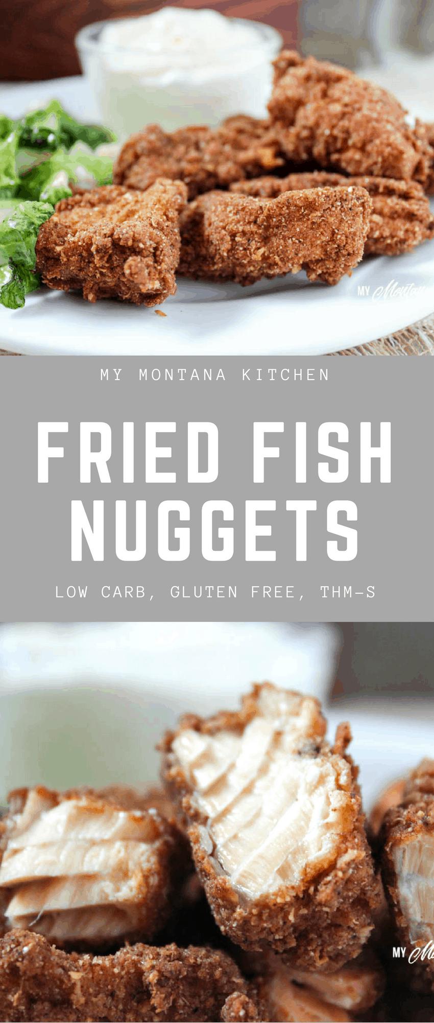 Low Carb Fried Fish Nuggets (Gluten Free, THM-S) #trimhealthymama #thm #friedfish #lowcarb #glutenfree #fishnuggets