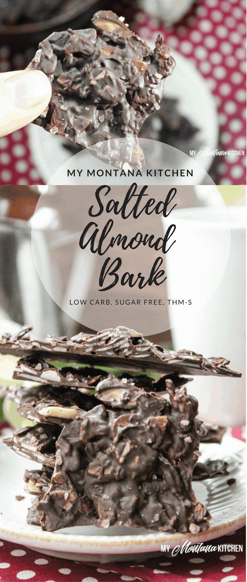 Salted Almond Bark (Low Carb, Sugar Free, THM-S, Dairy Free) #trimhealthymama #almondbark #lowcarb #sugarfree #thm #mymontanakitchen #chocolatebark