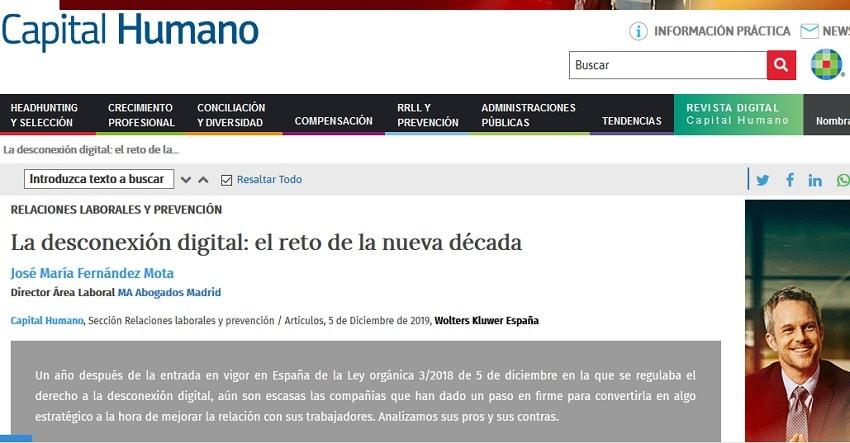 La Desconexión Digital, Capital Humano, José María Fernández Mota, MA Abogados