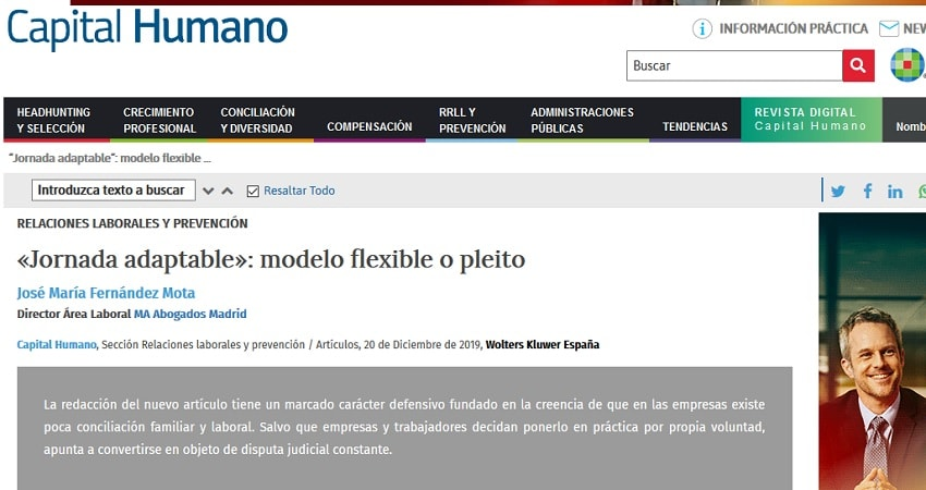 Capital Humano Jornada Adaptable, José Mª Fernández Mota, MA Abogados