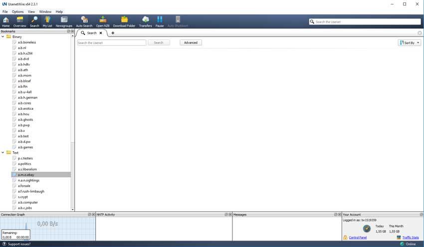 Het startscherm van Usenet Wire. Vanuit hier kun je gemakkelijk films, series, software of muziek downloaden.
