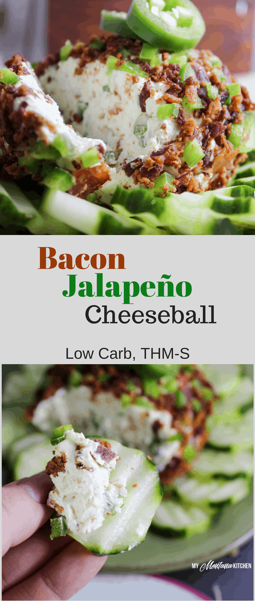 Easy Bacon Jalapeño Cheese Ball (Low Carb, Keto, THM-S) #trimhealthymama #thm #thm-s #cheeseball #bacon #jalapeno #appetizer #creamcheese