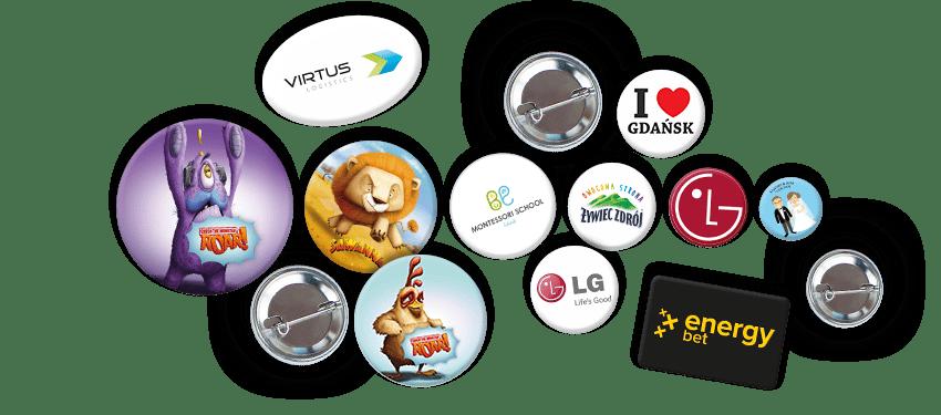 Przypinki na zamówienie, znaczki reklamowe okrągłe, prostokątne, owalne