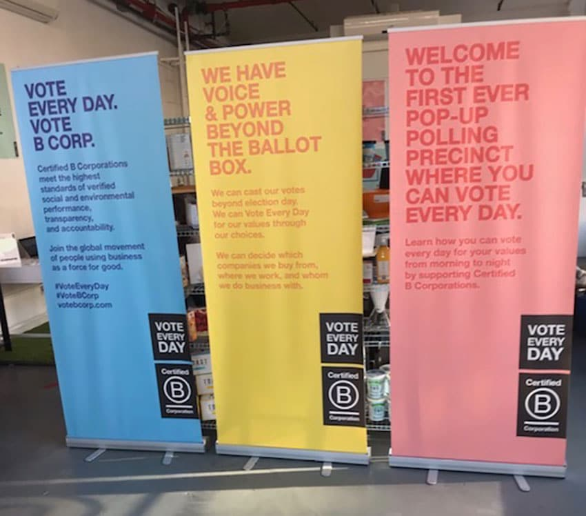 example of a pull-up banner printed for b corps pop up shop.