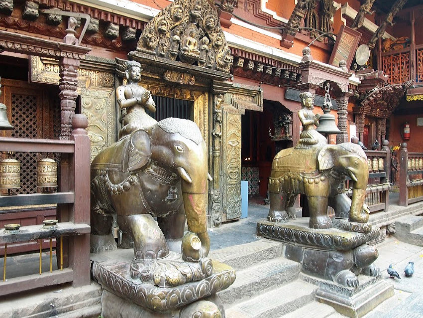 elephant statues inside kathmandu's golden temple