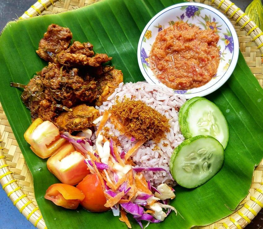 Malaysian vegan food in Sarawak Kuching Borneo
