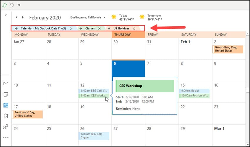 Two Outlook calendars overlayed with details.