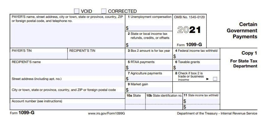 1099-G form for uneployment