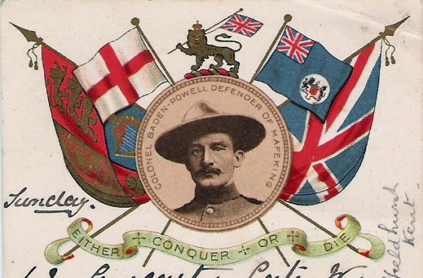 Picture: postcard celebrating Robert Baden-Powell 1900, believed to be in the public domain as the work was published before January 1, 1923 and it is anonymous or pseudonymous due to unknown authorship. Sourced from Wikipedia Commons