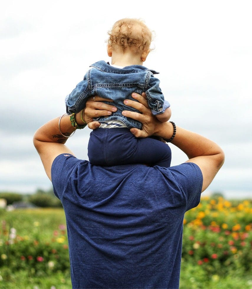 child on adults shoulders