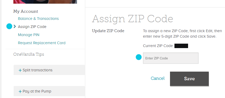 Add a zip code to OneVanilla card