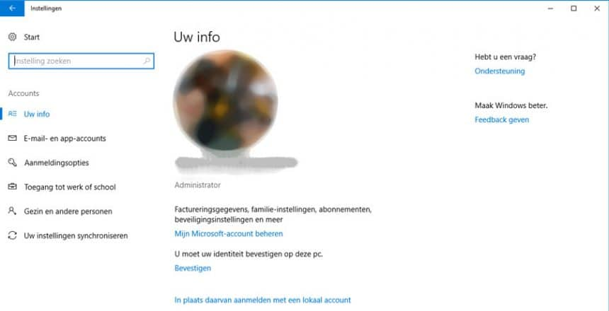 #1 - open het 'accounts' scherm via Windows 10 instellingen.