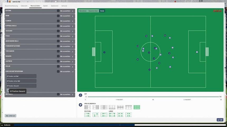 Analysetool: Durschnittspositionen beider Teams