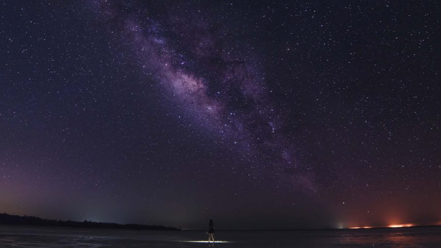 Milky Way on the night sky above Island Holbox
