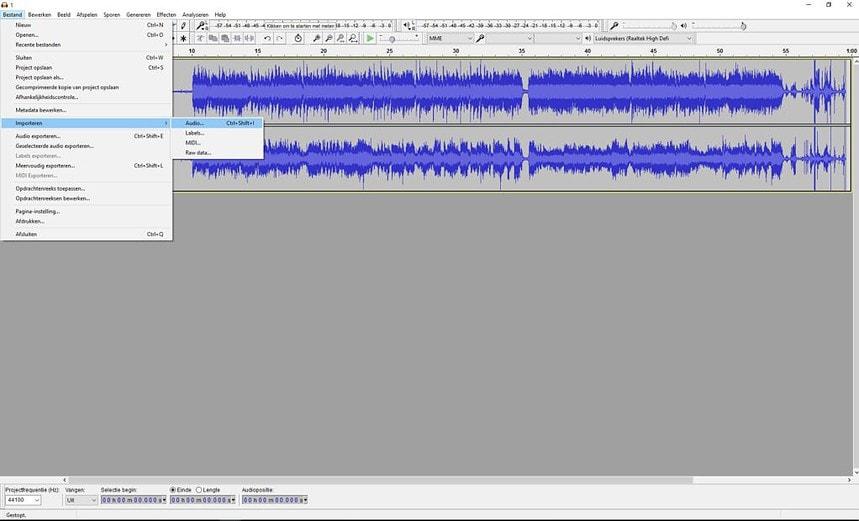 Importeer nu de andere MP3 bestanden die je wil wil samenvoegen met het eerste bestand.