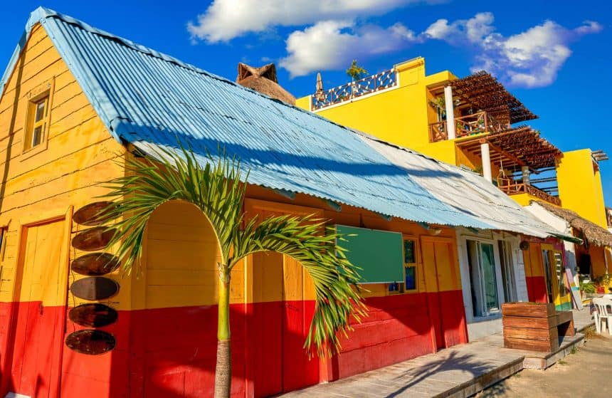Colorful houses in Holbox, Mexico