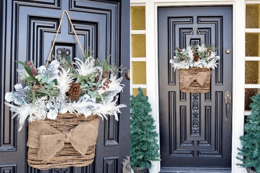 DIY DOOR FRONT PORCH DECOR IDEAS WITH WINTER BASKET WREATH