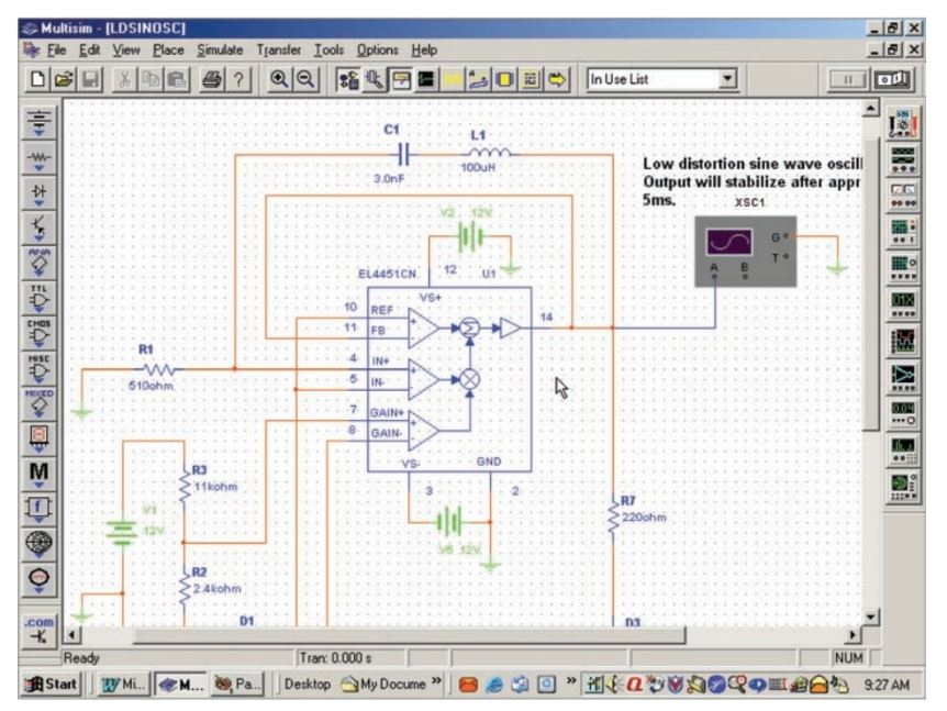 Screen capture of Multisim Electronics Workbench.
