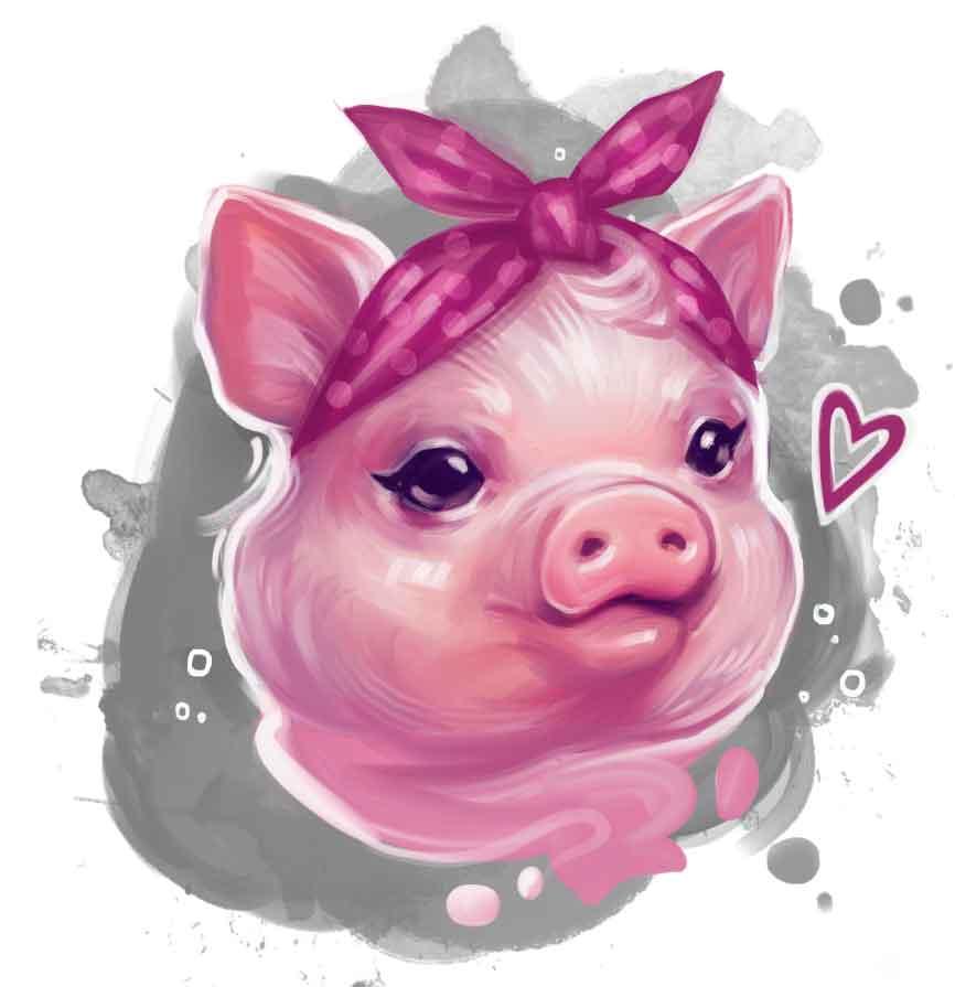 Pig wearing pink bandana