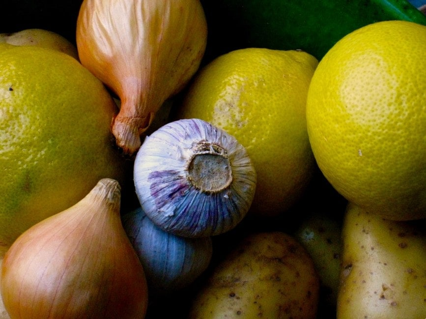 garlic, lemons and onions, close view