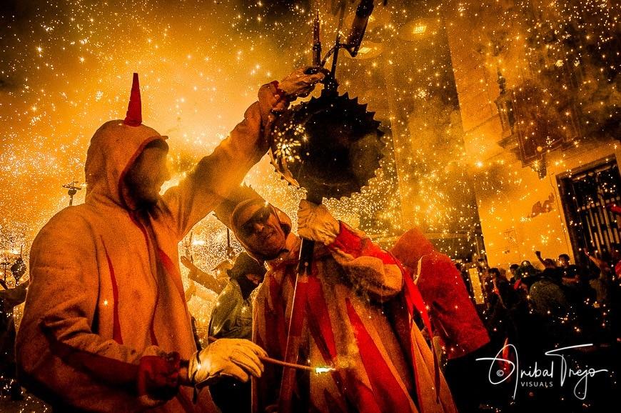 MATARO, SPAIN - JUL 20: Correfoc performance within the Les Santes celebration.
