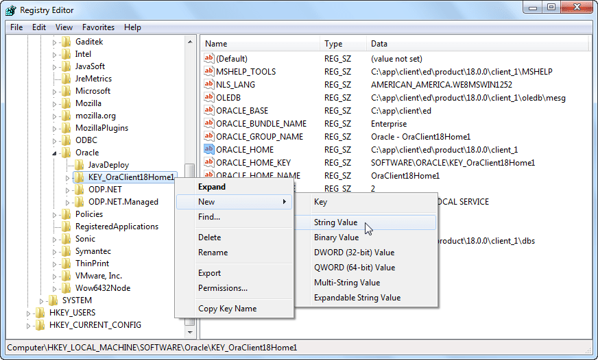 Oracle Software Registry - New a String Value