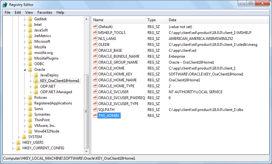 Oracle Software Registry - TNS_ADMIN Created