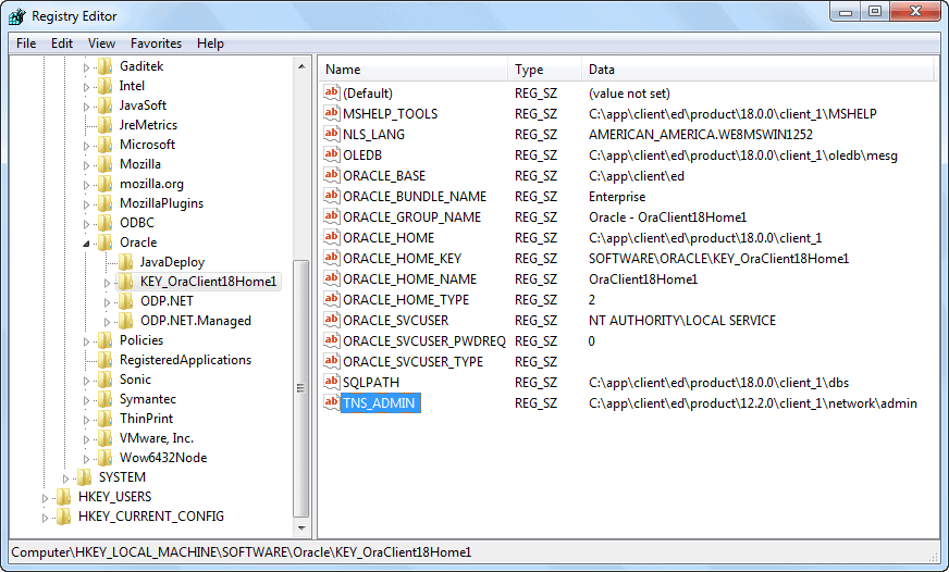 Oracle Software Registry - TNS_ADMIN Modified