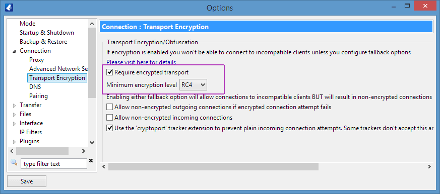 Vuze Encryption Settings