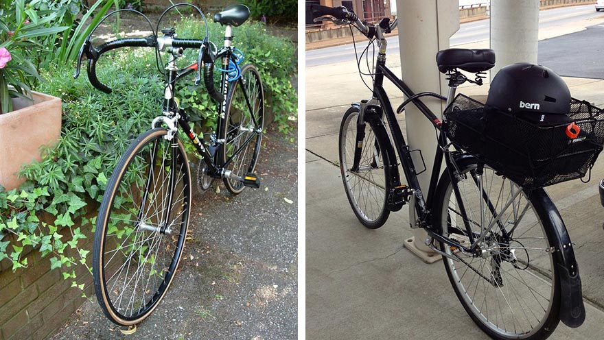 Split image of a typical road bike on the left and a commuter bike on the right