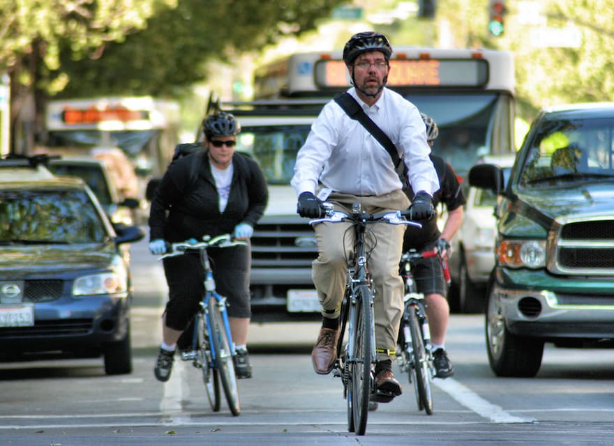 Commuters ride to work in San Jose, Calif.