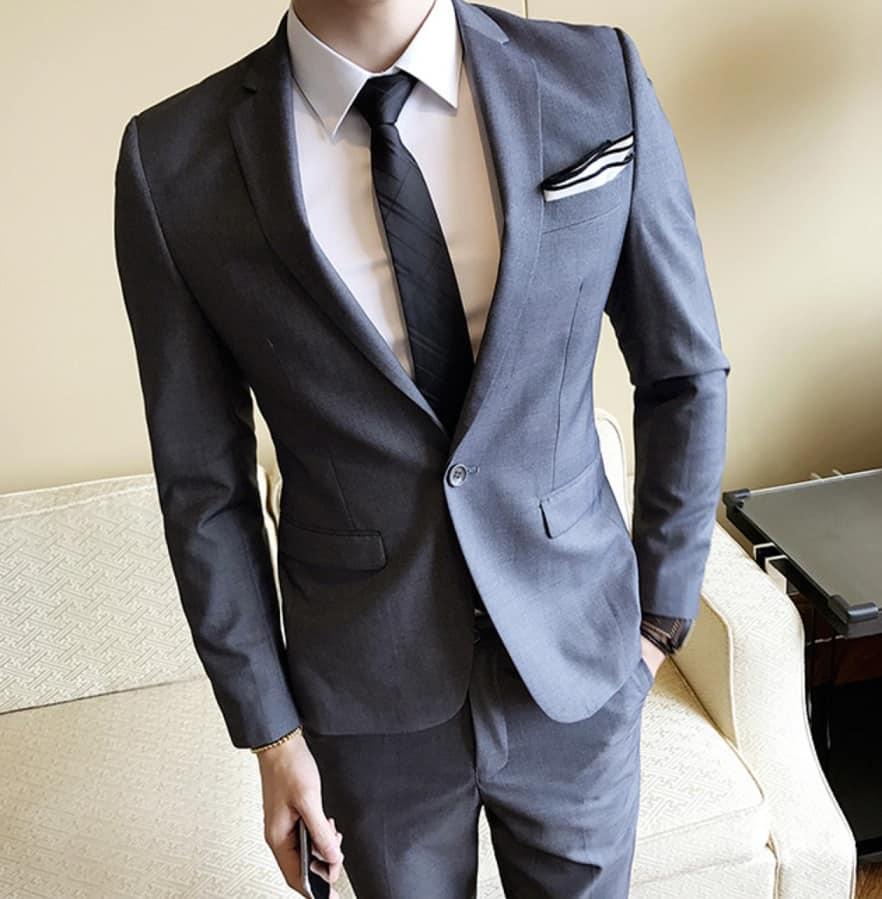 AliExpress Cheap Designer Wedding Dresses Groom Mens Wedding Suit Formal Party in Grey Handkerchief