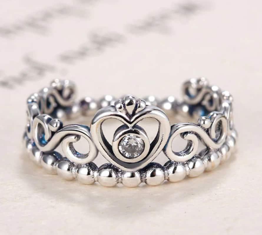 Pandora Charm Replica AliExpress Pendant 010 Princess Tiara Ring Silver Ring Princess Tiara Royal Crown With Crystal Rings For Women1