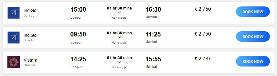 Result Udaipur Mumbai flight