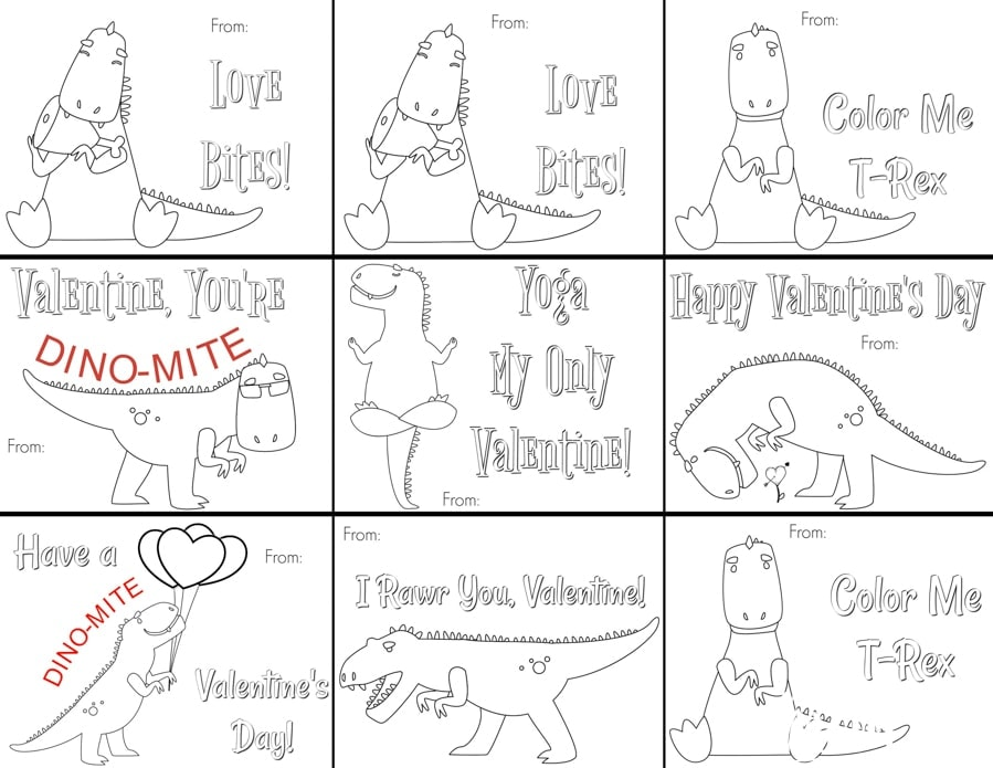 t rex classroom valentine cards printable