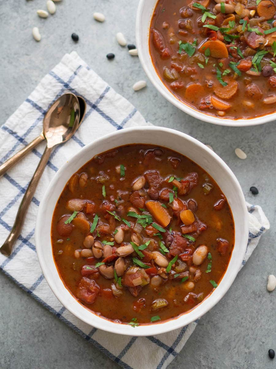 Spicy Harissa Bean Soup as part of healthy bean recipes roundup