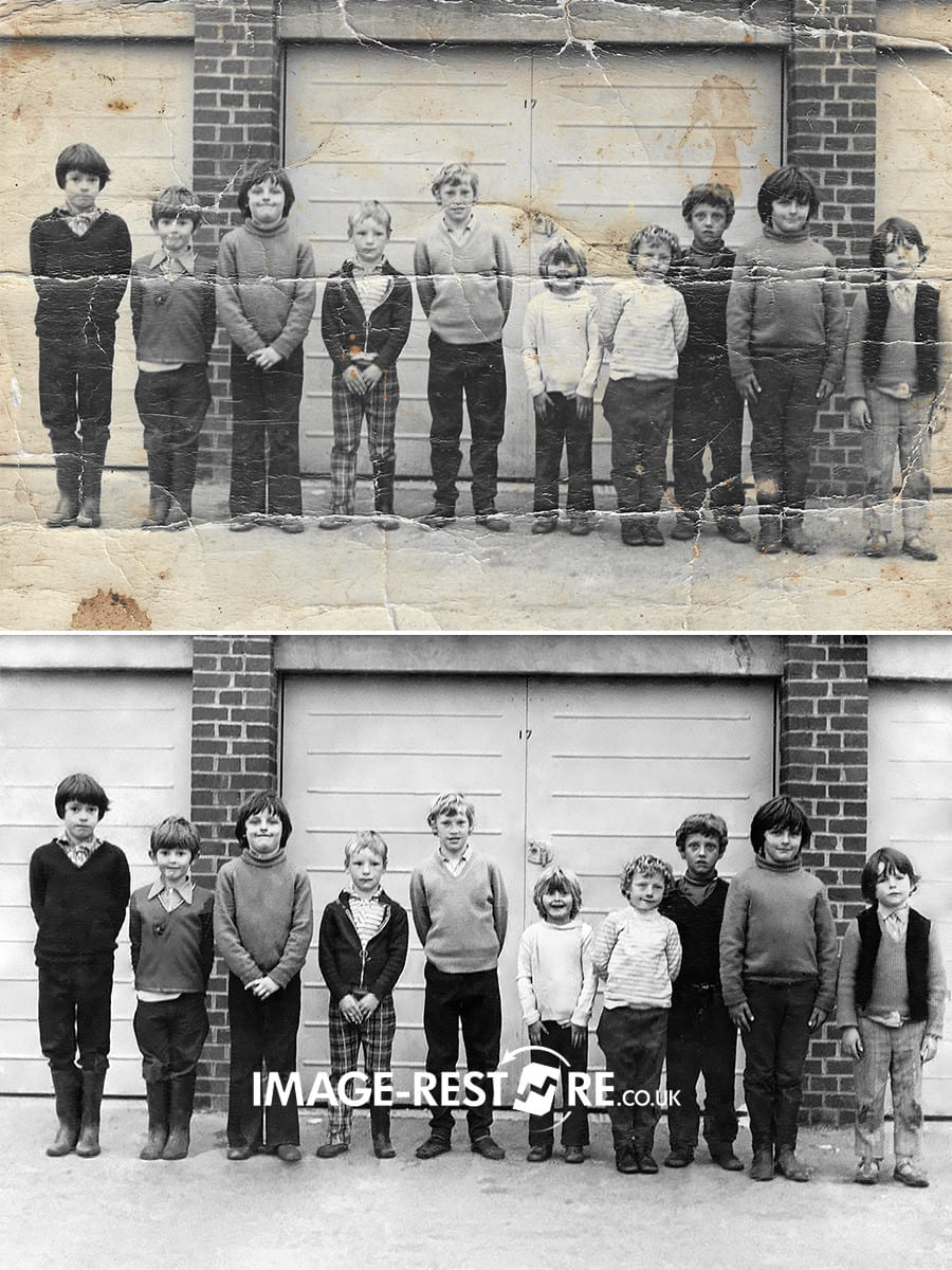 Childhood friends photo restored
