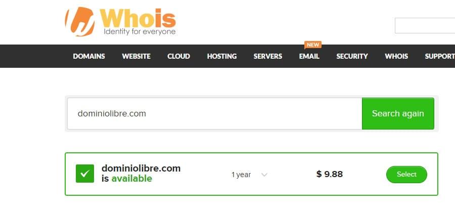 Como saber si un dominio está disponible en Whois