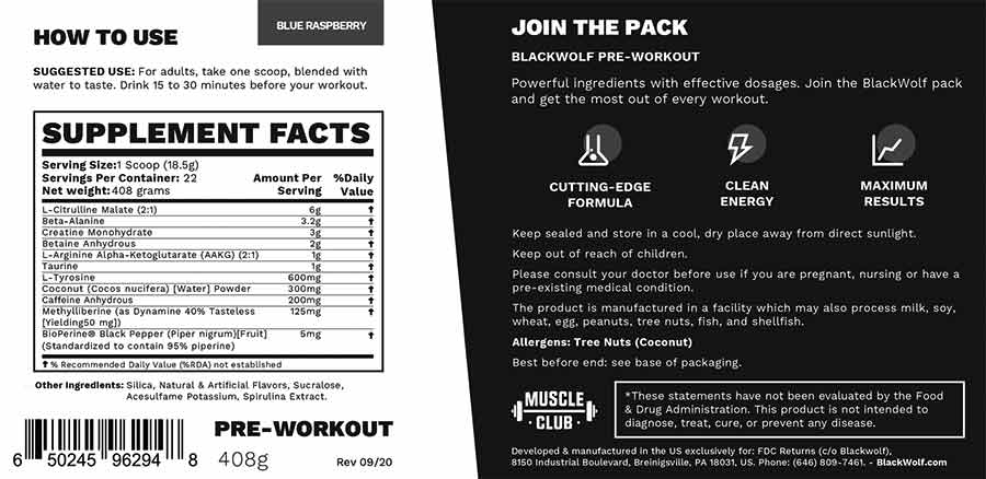 Blackwolf Pre Workout Supplement Facts
