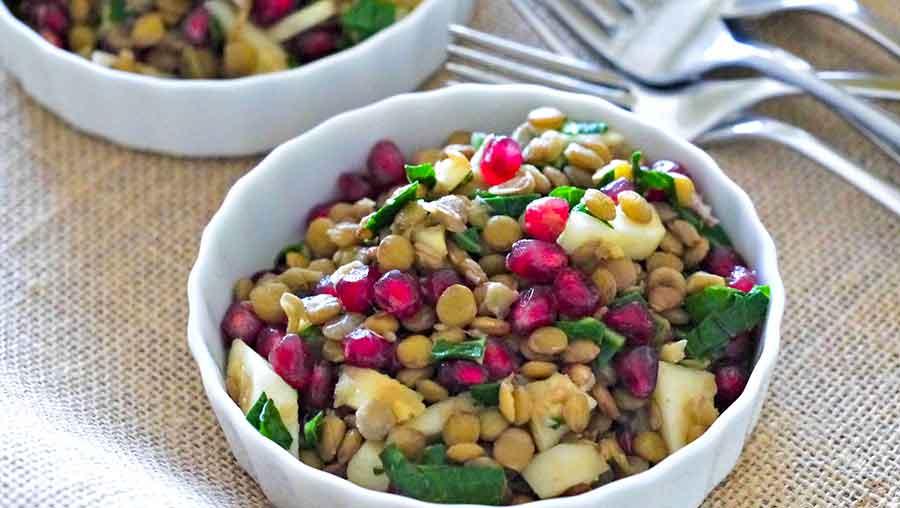 lentil and pomegranate salad, vegan