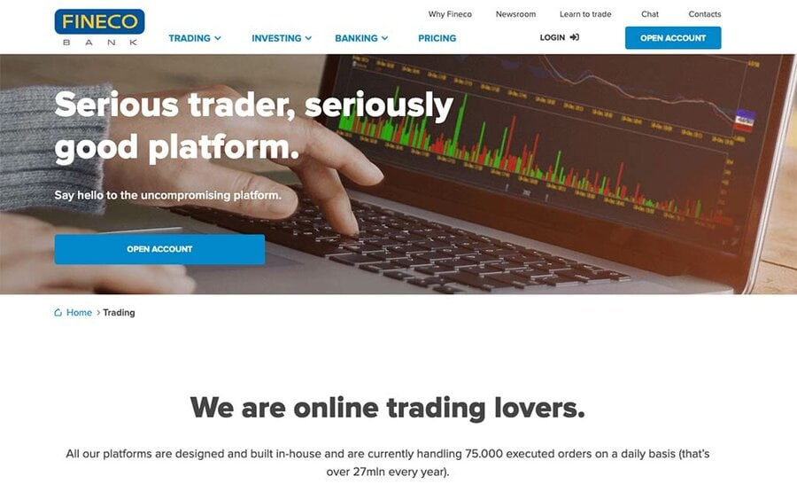 Fineco UK Trading Platform