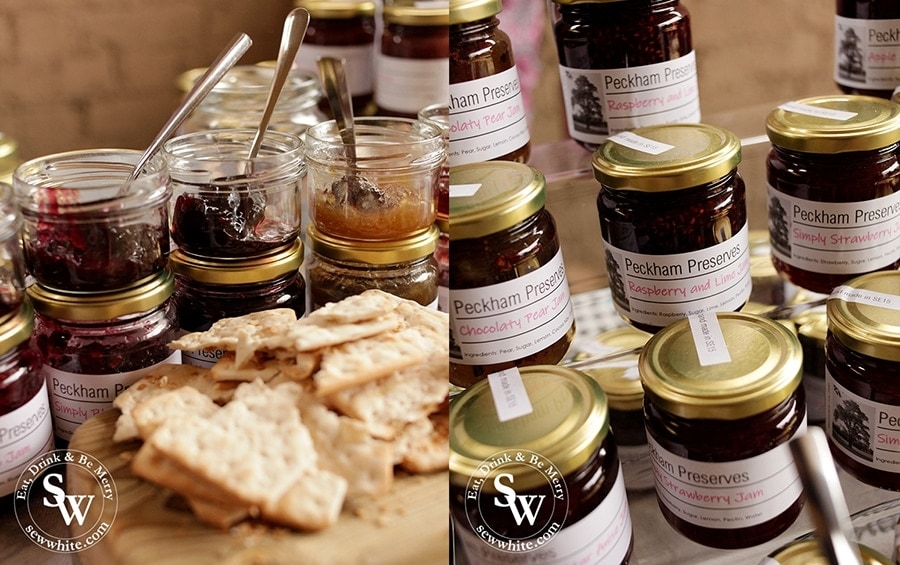 Jars of artisan jams from the Peckham preserves company.