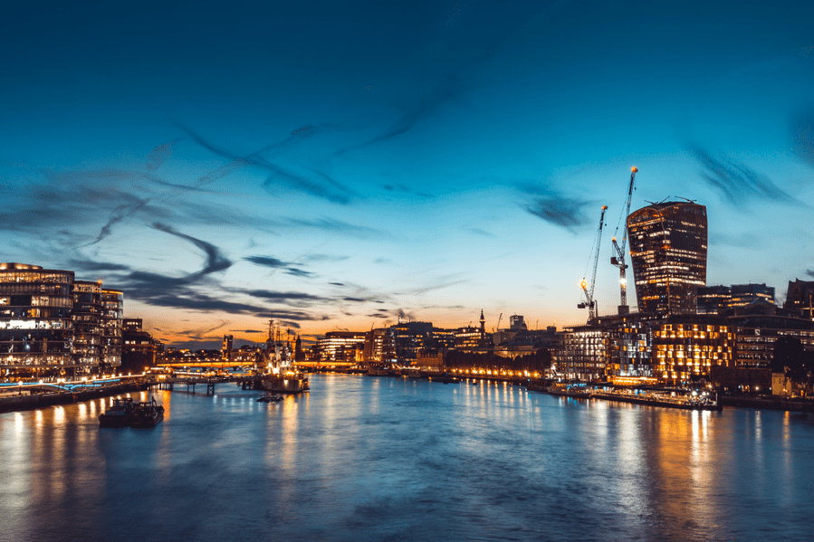 Recordsure's London office by the Thames at night